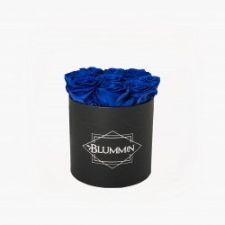 MEDIUM CLASSIC DARK GREY BOX WITH OCEAN BLUE ROSES