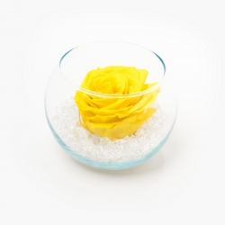 Klaasist vaas ümmargune Bright Yellow roosiga ja kristallidega
