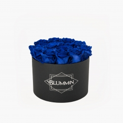 LARGE CLASSIC DARK GREY BOX WITH OCEAN BLUE ROSES