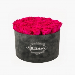 EXTRA LARGE BLUMMiN DARK GREY VELVET BOX WITH HOT PINK ROSES